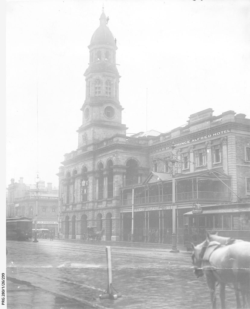 Premises of Adelaide Town Hall and the Prince Alfred Hotel