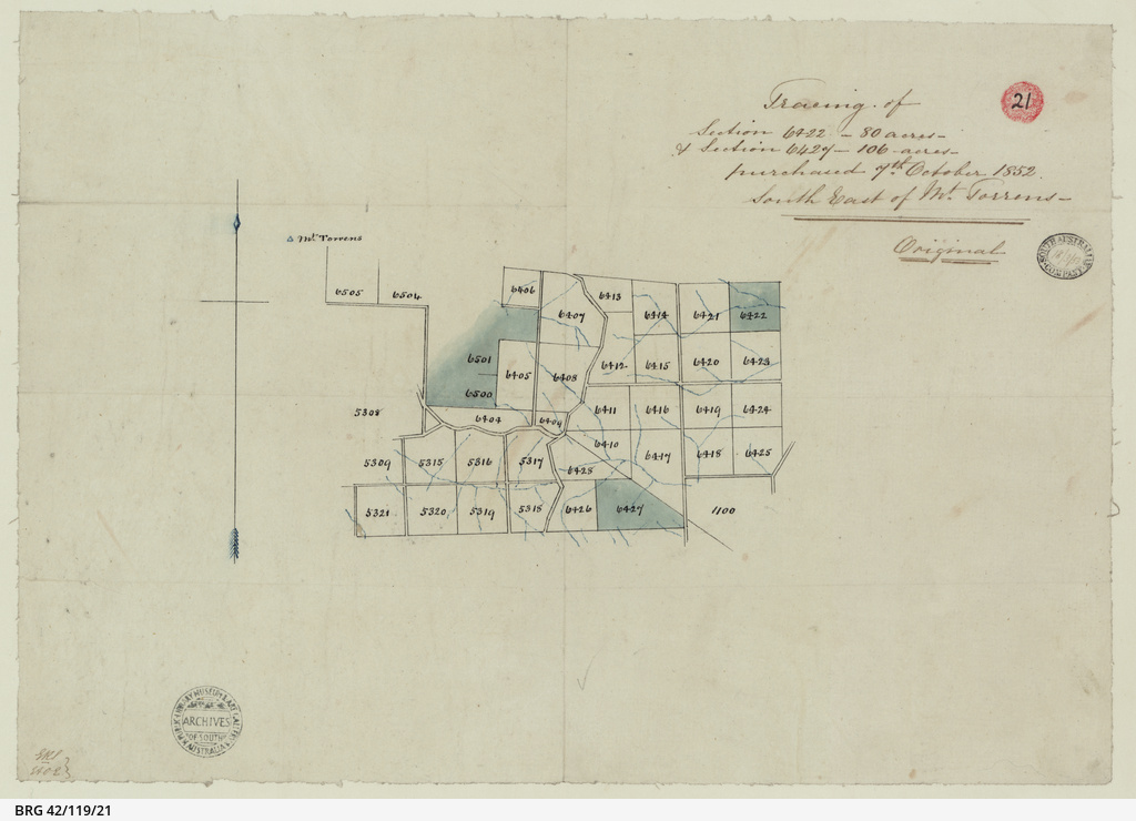 Tracing of Sections purchased south east of Mount Torrens [cartographic material]