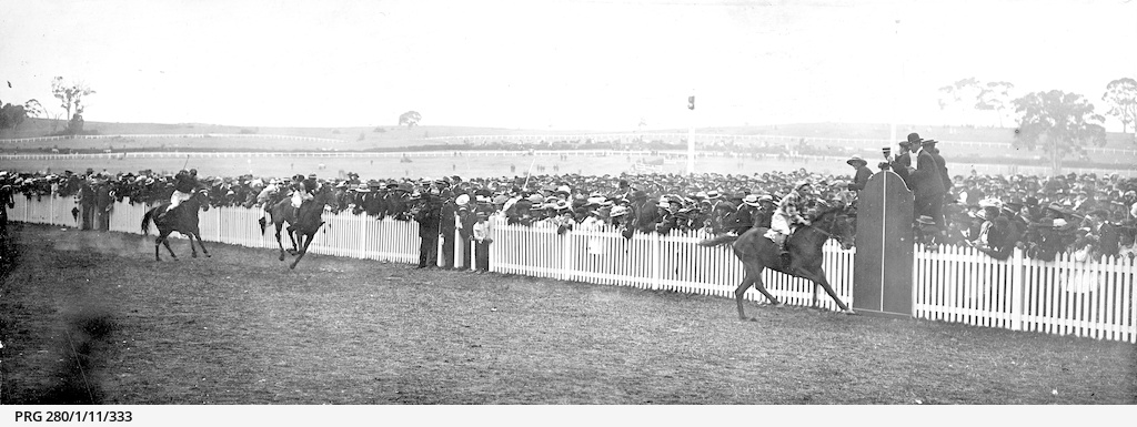 Horse-racing on the track at Victoria Park, Adelaide