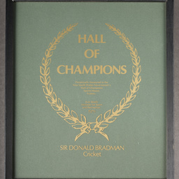 Hall of Champions certificate
