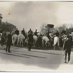 Crowd at the Vietnam War Moratorium rally, being blocked by police horses