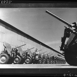 Row of 2 pounder guns at Beverley Plant
