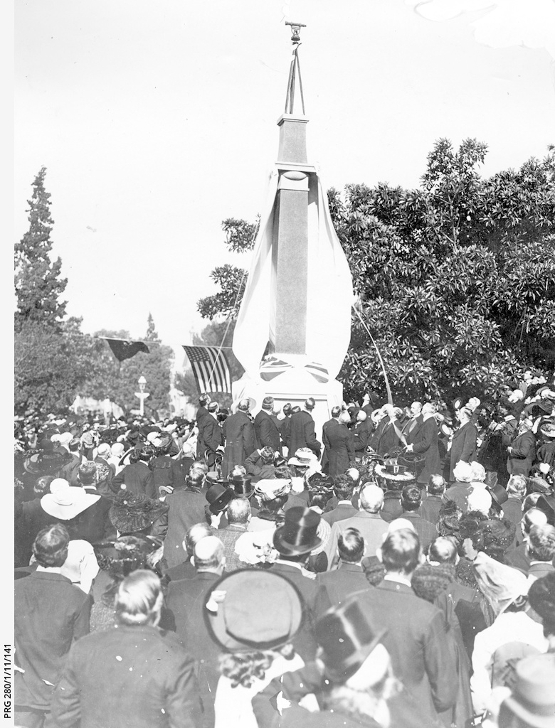 Unveiling the new Colonel Light memorial in Light Square, Adelaide