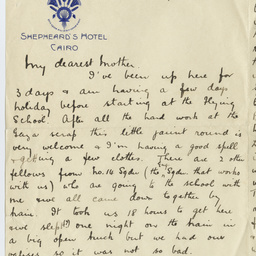 Letter from Ross Smith during World War I, Cairo, to his mother