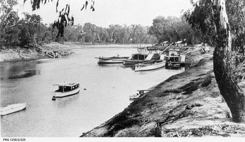 Group of unidentified river boats at Echuca