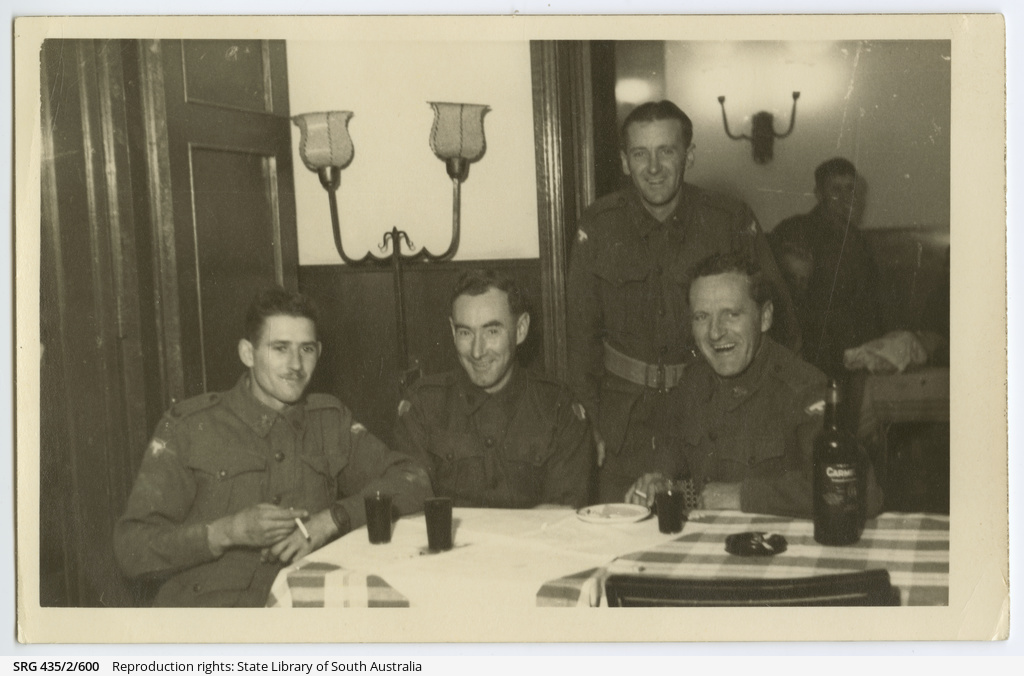 Soldiers in a restaurant.