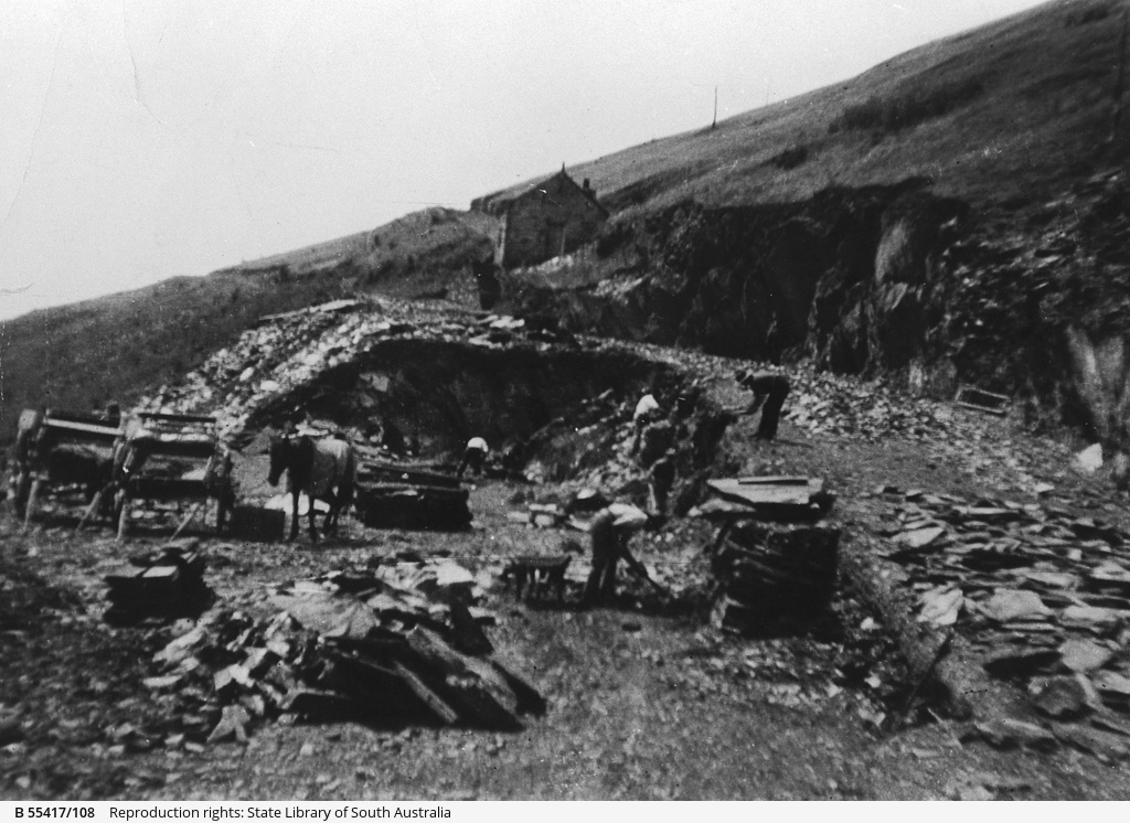 Preparation of a new slate mill at Willunga