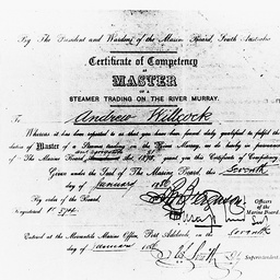 Andrew Willcock's Master's certificate for River Murray steamers