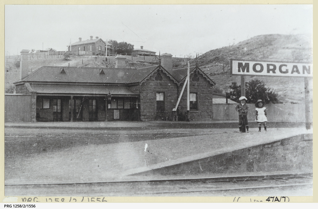 Morgan railway station with two children on the platform