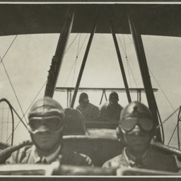 Vickers Vimy crew during flight.