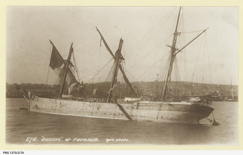 The 'Sussex' moored at Falmouth