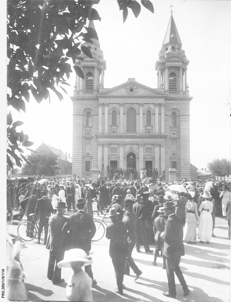 Crowds of visitors outside St. Patrick's Church, Grote Street, Adelaide,
