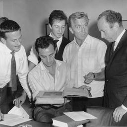 Group examining 'Macbeth in camera'