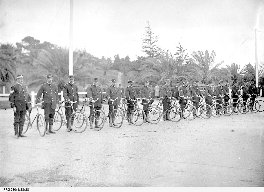 Policemen with bicycles on parade