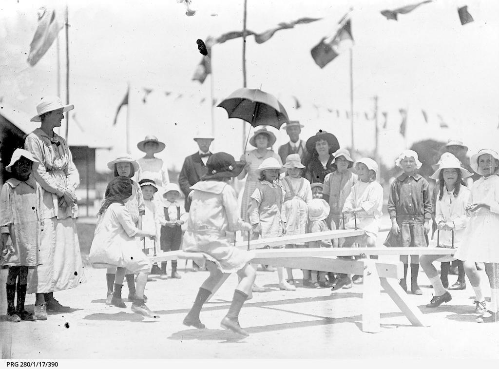 Children at a newly opened playground