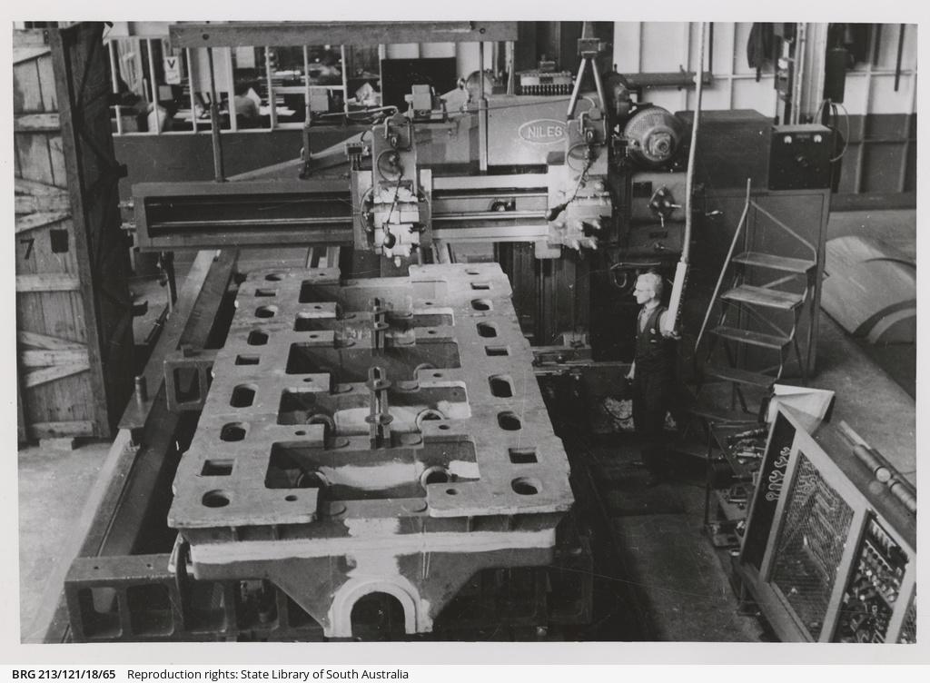 Corvette engine base on Niles planing machine.